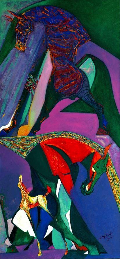 FAMILY by Chadraabal Adiyabazar Contemporary Art for Sale - ART101 Art Gallery & Framing
