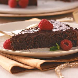 Raspberry Sachertorte Recipe -It may look like this torte took hours to make, but it has a surprisingly short list of ingredients. A small slice splendidly satisfies a sweet tooth.—Rosetta Hockett, Colorado Springs, Colorado