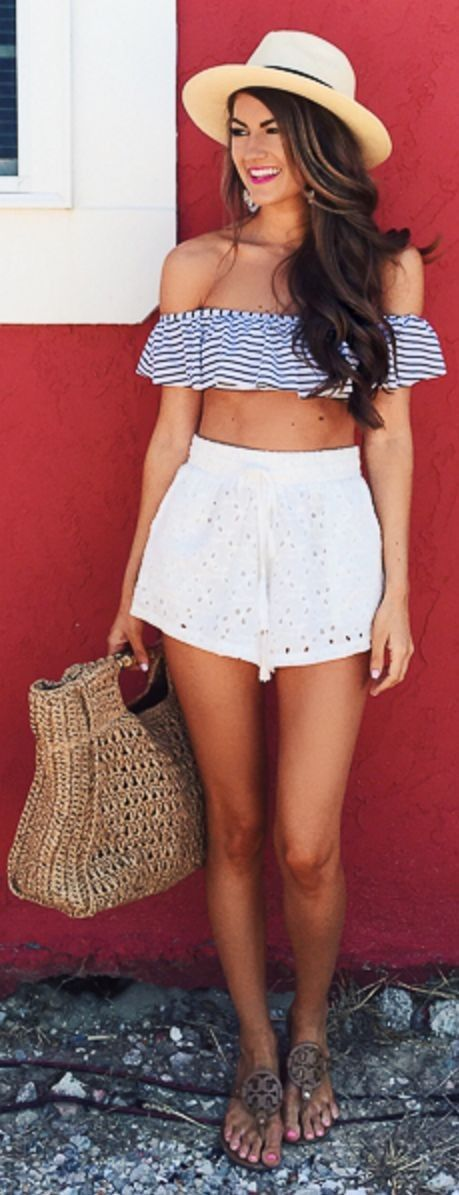 #feminine #style #summer #outfitideas |  Striped Bandeau Top + White Eyelet Shorts