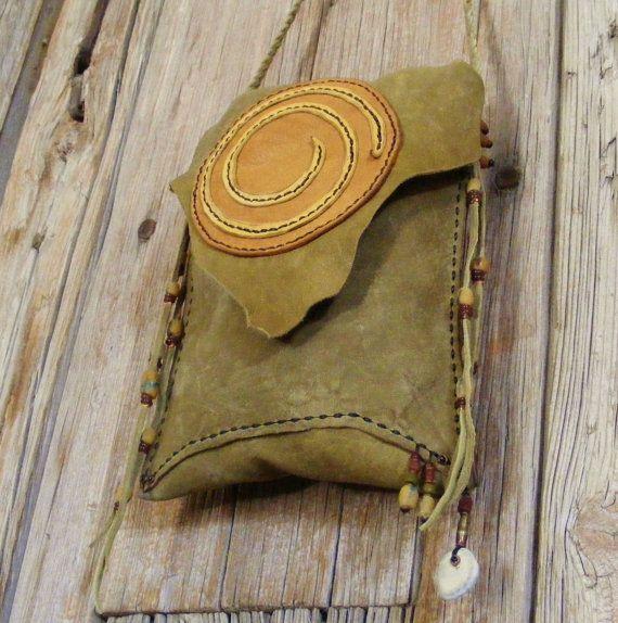 "SPIRAL leather Cross Shoulder 2 pocket leather purse with antique beads, deer antler 7"" X 8"""