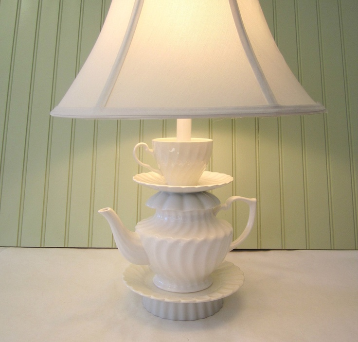 """Teapot Lamp, White Swirled Pattern Teapot, Tea Cup and Saucer, """"Alison"""" Series, Alice in Wonderland Shabby Chic Country Beach  Cottage. $85.00, via Etsy."""