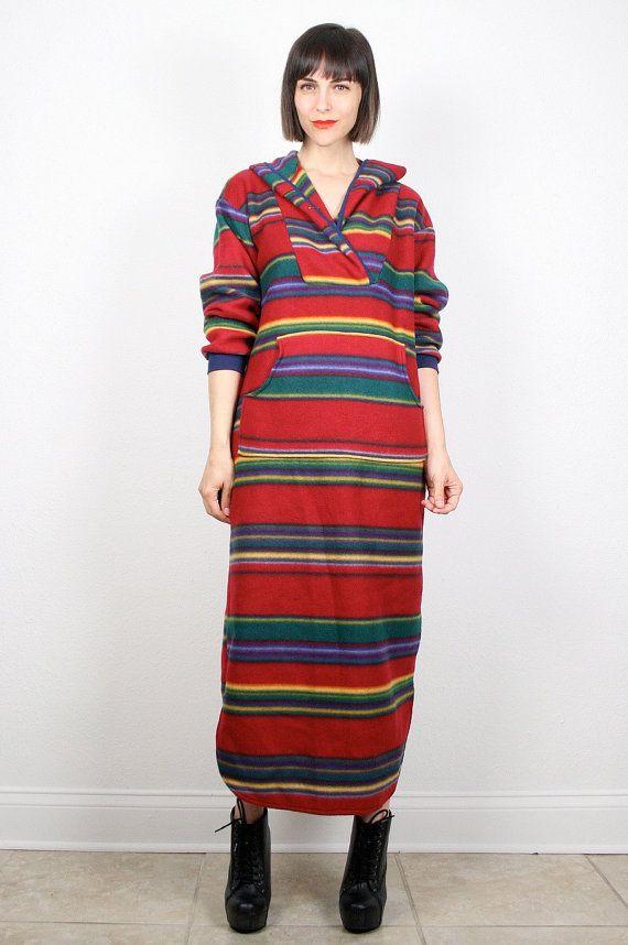 ... Poncho Sweater Dress Navajo Grunge Baja Mexican Blanket Dress L Large