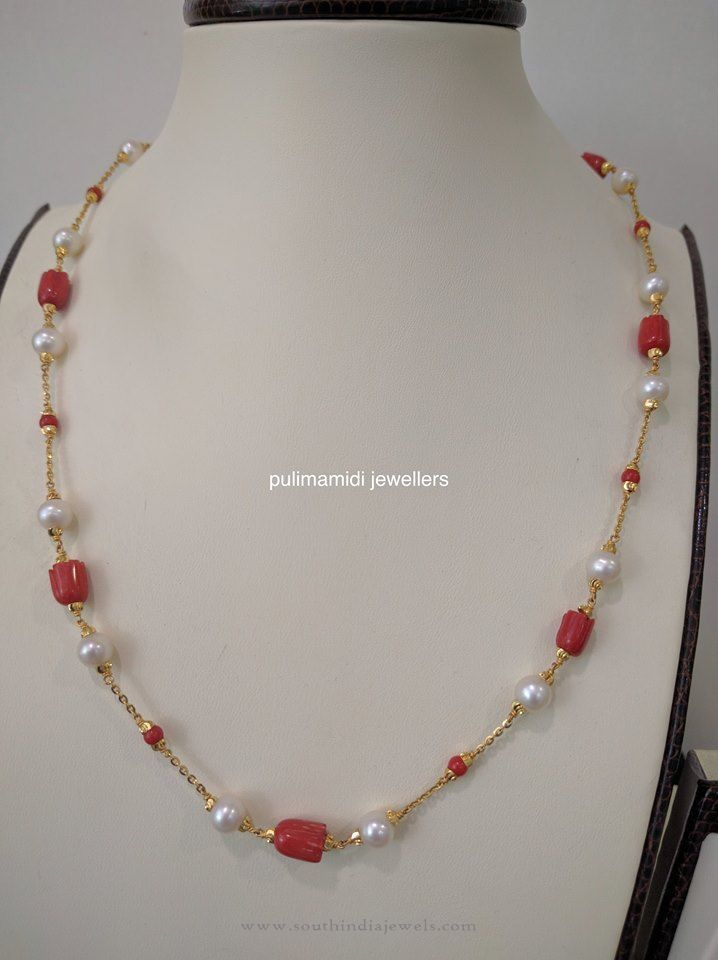 Indian Gold Coral Chains, 22K Gold Chains with Coral and Pearls.