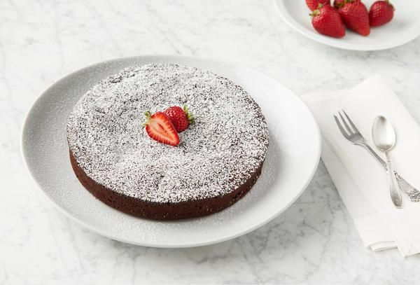 Gourmet baking kit for flourless chocolate cake. Each kit includes all pre-measured ingredients and detailed recipe card to bake an impressive dessert at home.