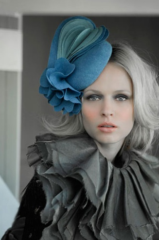 Lovely how the hat looks like a flower in bloom (love the collar and unfinished edges, too)...  |  Ann Shoesbrigde Millinery