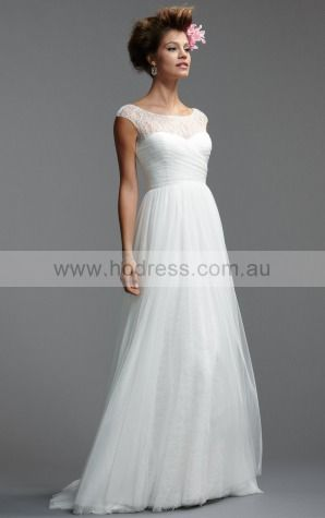 A-line Scoop Natural Cap Sleeves Floor-length Wedding Dresses was0102--Hodress