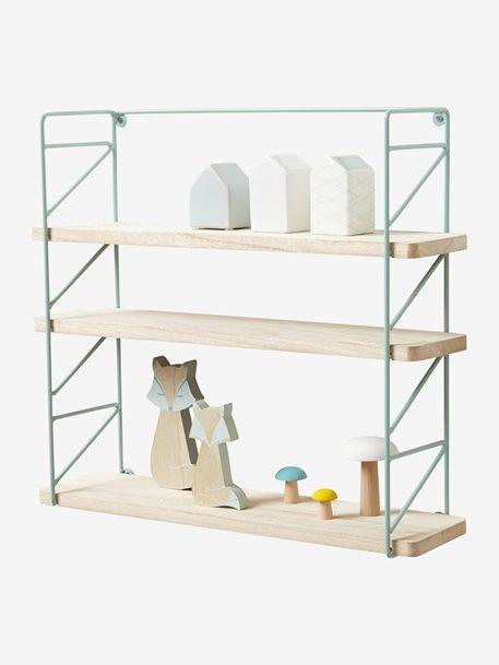 Etagère métal et bois 3 niveaux - Rose / bois+Vert - 6