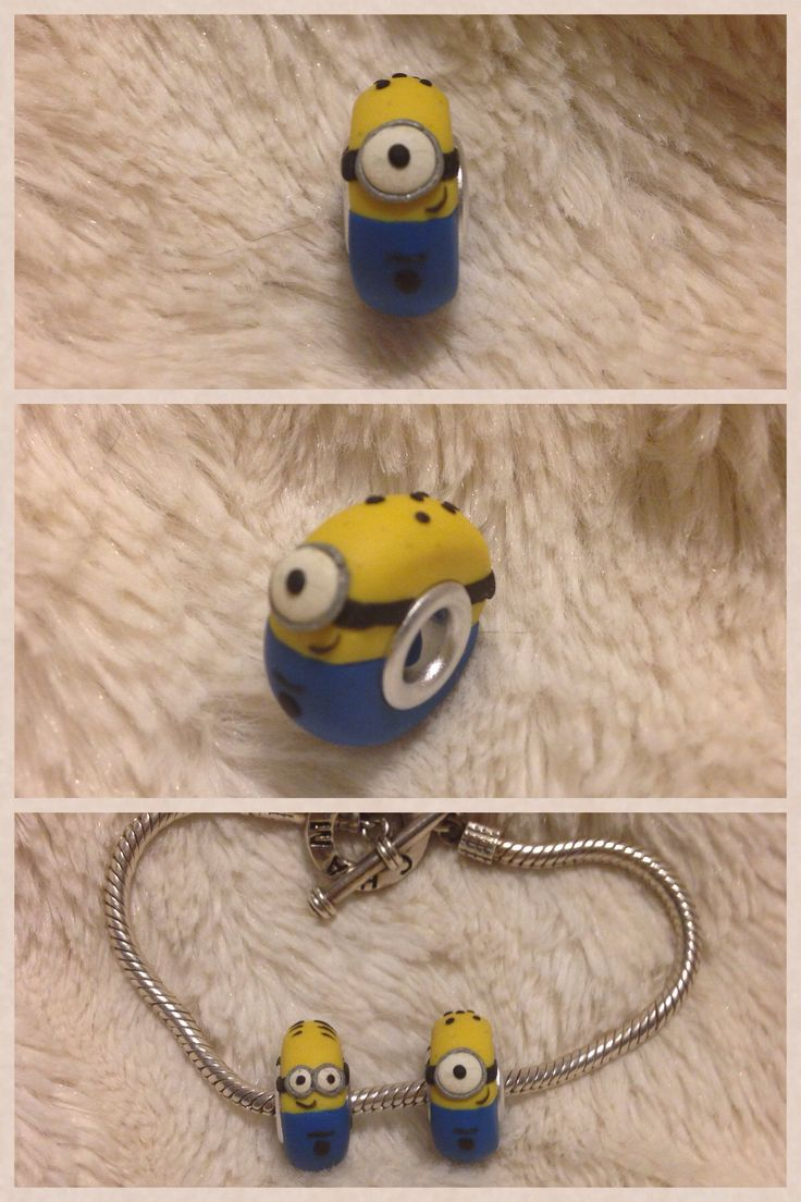 Polymer Clay Minion Jewelry Chamilia or Pandora bead by kikiskreations on Instagram