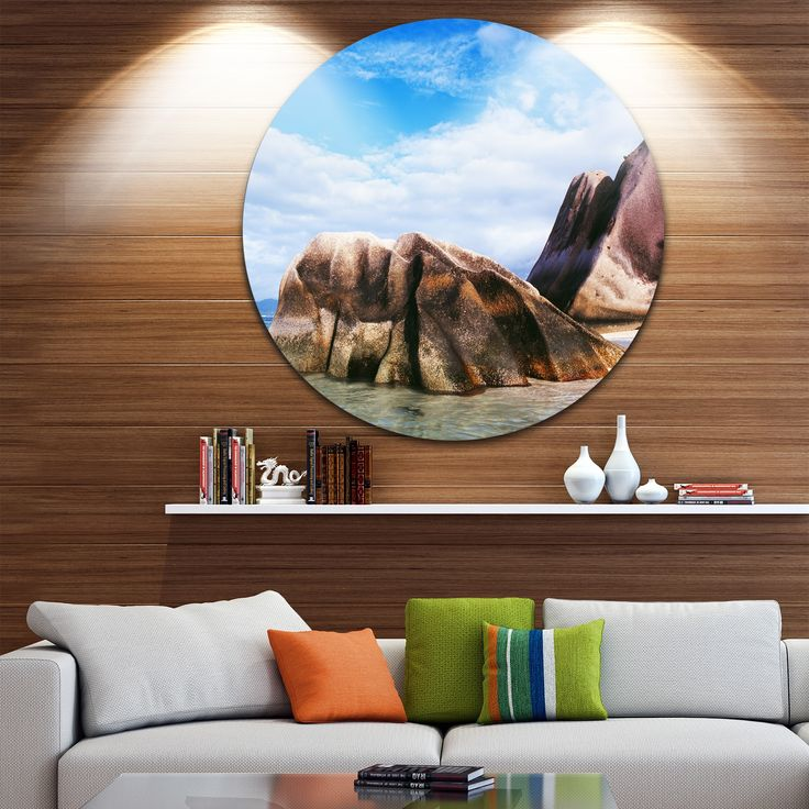 Designart 'Massive Rocks in Seychelles Beach' Modern Seascape Circle Wall Art