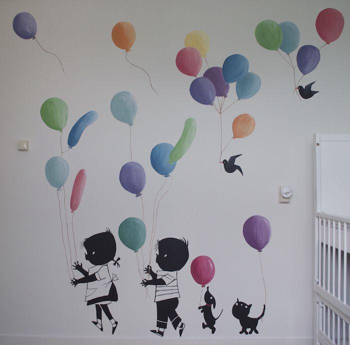 muurschildering Jip en Janneke met ballonnen - Miranda Maakt het Mooi