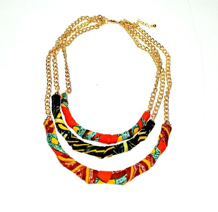 Multi Strand African necklace / fabric Statement necklace , African jewelry, Wax print fabric jewelry, African Ankara Fabric Bib Necklace/