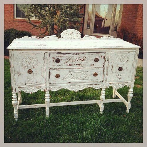Antique Buffet Painted White And Distressed. Repurposed