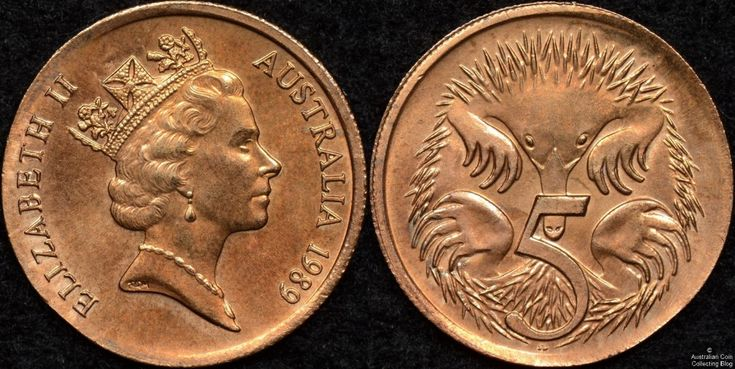 1989 Australian 5 cent struck on a 1 cent blank