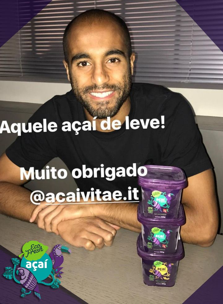 Lucas Moura do Time PSG e Açaí Ecofresh