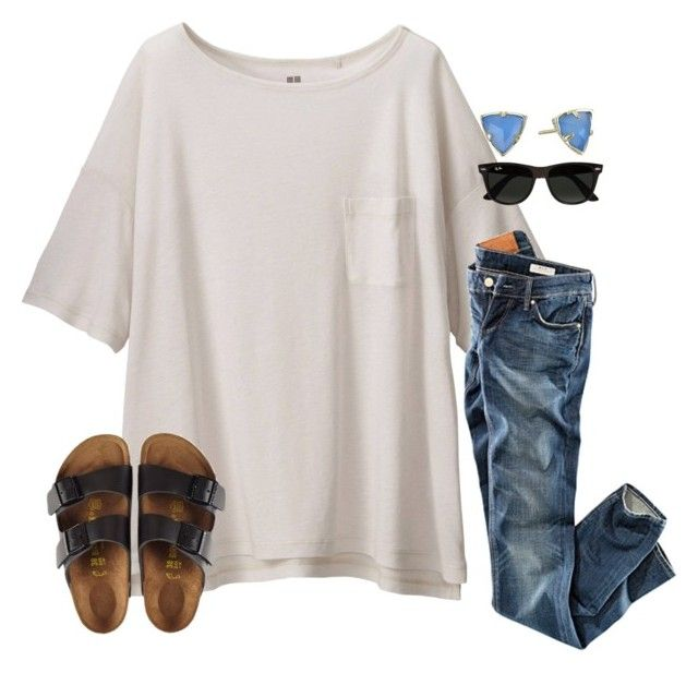 """""""Similar OOTD!! Went to the Zoo"""" by sarahmurtaugh ❤ liked on Polyvore featuring Uniqlo, Ray-Ban, Birkenstock, H&M and Kendra Scott"""