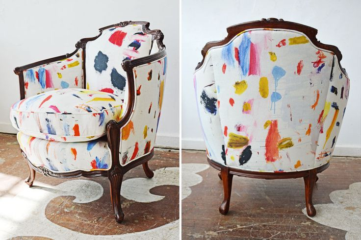 An exciting client purchased this antique chair from our furniture inventory and selected this most inspiring textile, Arty by Pierre Frey for reupholstery. This is one of the most stunning and exciting redos we've done to date.