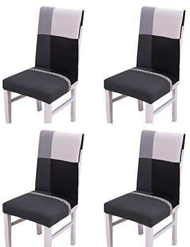 lot de 4 housses de chaises de salle a manger imprime moderne ajustable pour chaise de mariage chaise ou tabouret de salle a man