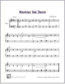 Mexican Hat Dance (La Raspa) | Free Sheet Music for Piano - http://makingmusicfun.net/htm/f_printit_free_printable_sheet_music/mexican-hat-dance-piano-solo.htm