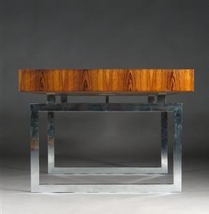Bodil Kjær: Freestanding Brazilian rosewood desk with chromed steel frame