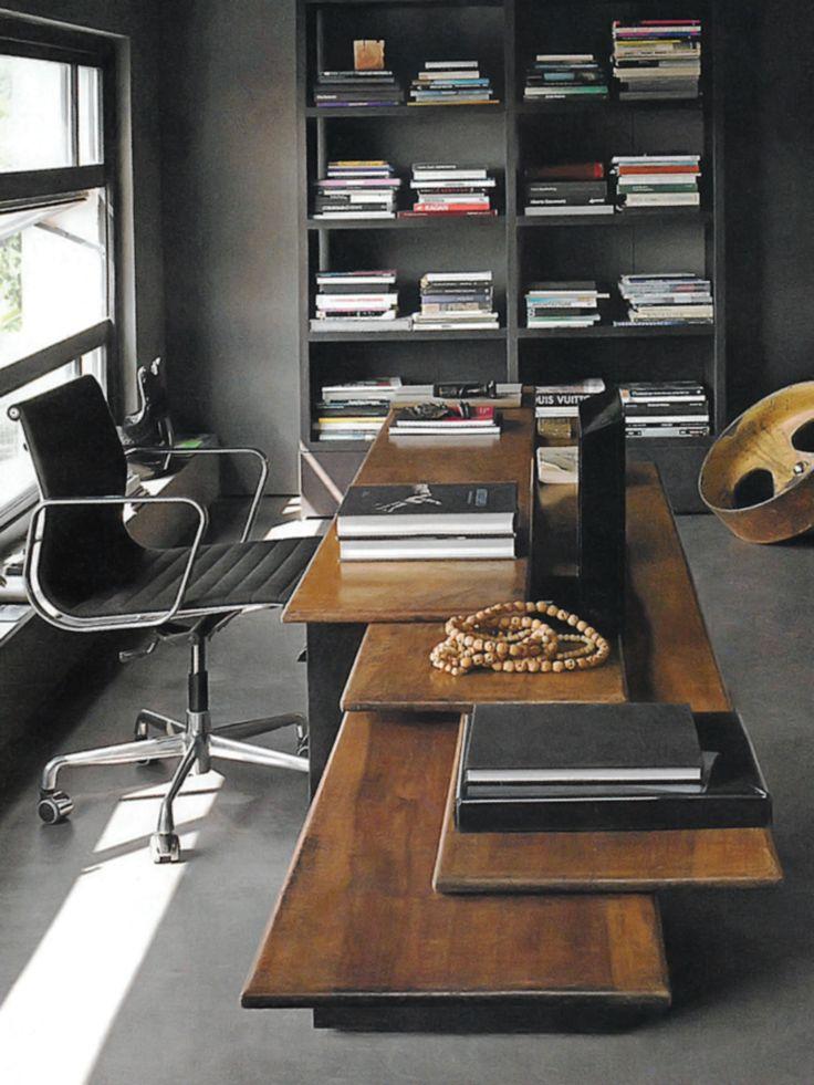 Inspiração para home office masculino. Escritório elegante!