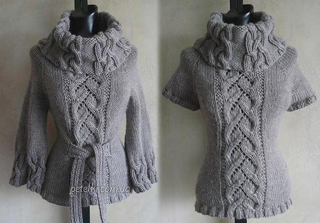 Шикарный свитер спицами косами. Описание вязания, схемы