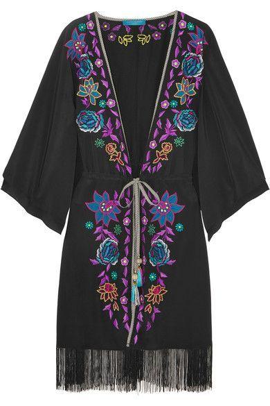 Matthew Williamson - Sakura Embroidered Crepe De Chine Kimono - Black - UK6