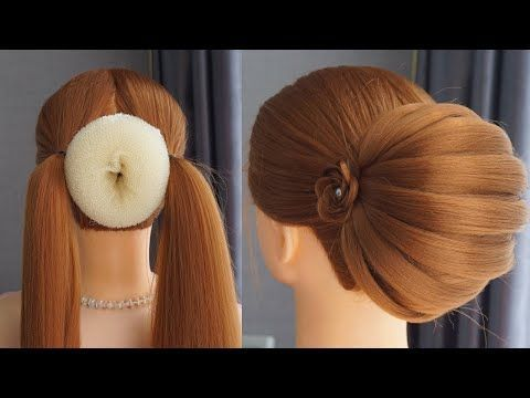 Bun Hairstyle For Lehenga Step By Step Easy Hairstyles But Pretty Wedding Hairstyles And Party Party Bun Hairstyles Bun Hairstyles Easy Hairstyles