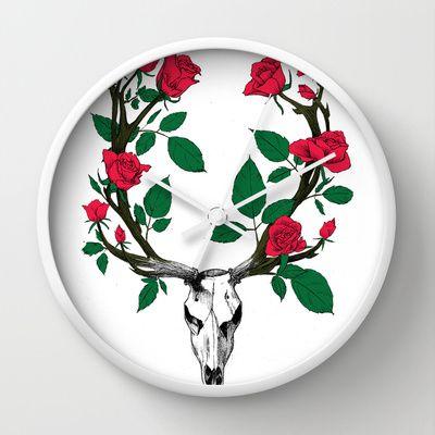Cerf aux bois de roses Wall Clock by Ywana - $30.00