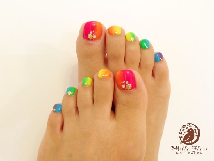 Rainbow toe nails