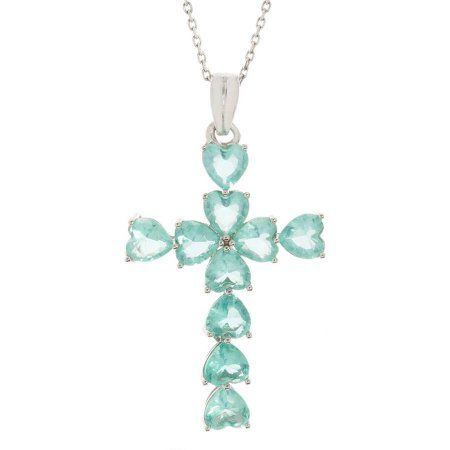 Pori Jewelers CZ Sterling Silver Medium Cross Pendant Necklace, Women's