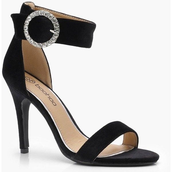 Boohoo Esme Velvet Brooch Trim 2 Part Heel ($29) ❤ liked on Polyvore featuring shoes, sandals, floral shoes, twisted shoes, special occasion shoes, floral printed shoes and summer footwear