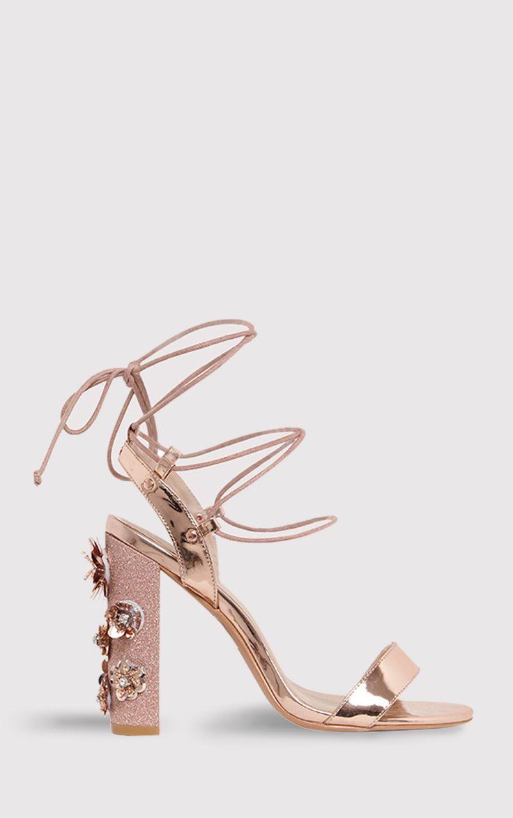 Evy Rose Gold Embellished Block Heeled Sandals