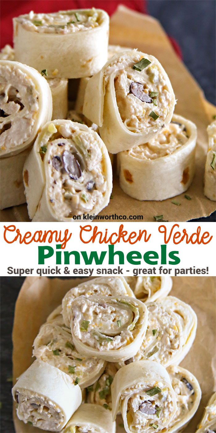 Creamy Chicken Verde Pinwheels are a simple & easy snack recipe. Great for parties! Delicious shredded chicken, black beans & green chilis- SO GOOD! via @KleinworthCo