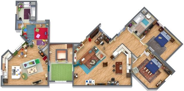 A 3D floor plan of The Big Bang Theory apartments