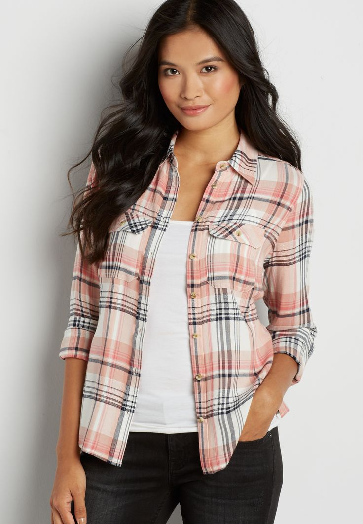 button down textured plaid shirt in faded peach $29