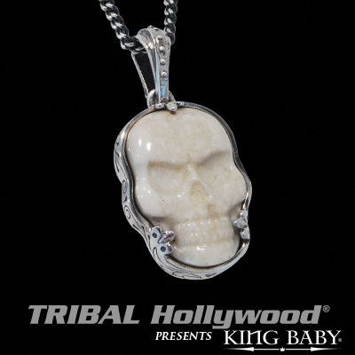 WHITE FOSSIL SKULL Sterling Silver Necklace for Men by King Baby