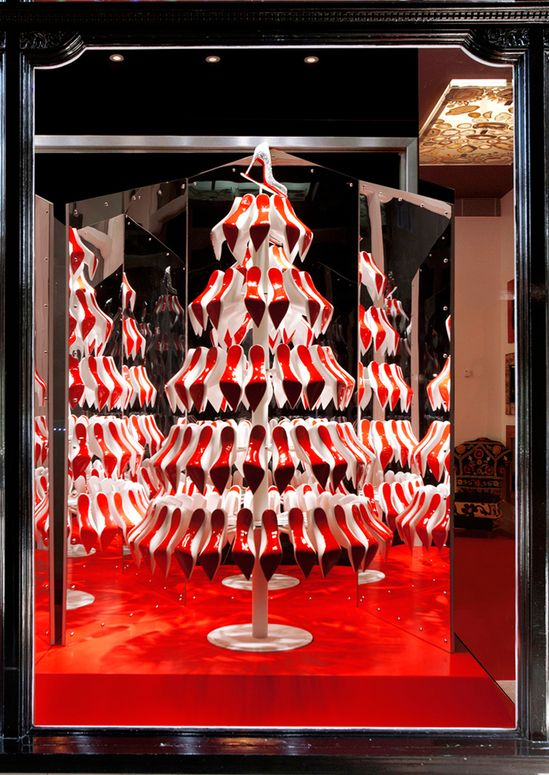 air jordon A shoe lover  39 s dream   Christian Louboutin Christmas tree with red soles grace their store windows   as only they could