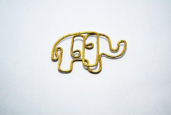 Paper Clip Brass Elephan shaped paper clip by SouvenirsAtChiangMai
