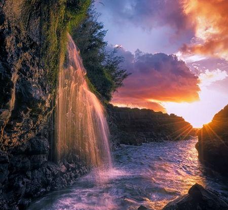 waterfalls flowing into ocean | Waterfall Flowing Into The Sea, Kauai - island, sky, Hawaii, cliff ...