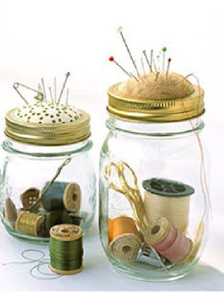 frascos de vidrio costurero
