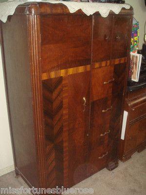 Vintage 1930 Art Deco Bedroom Waterfall Furniture Armoire