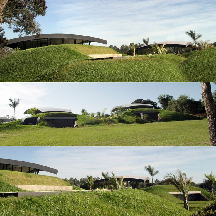 Partially Underground With Arching Green Roofs, A Sharp Triangular Swimming  Pool And Unusual Architecture, · Green RoofsModern HomesSwimming ...