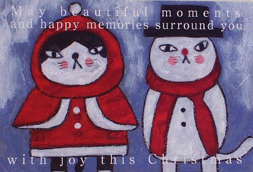 鉄男 猫ポストカード with joy this Christmas