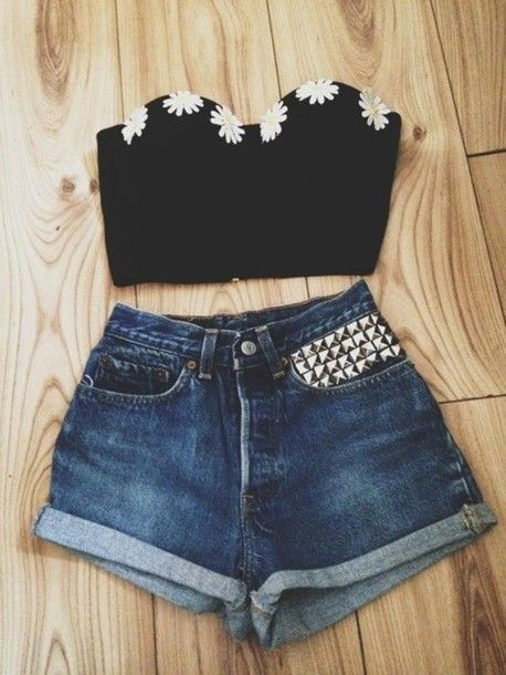 blouse cute daisy flower black corset black corset hippie hipe tumblr hipster indie indiestyle indie style top black top strapless strapless...