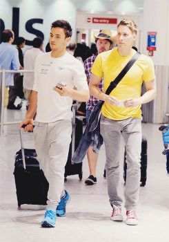 Tom Daley & Dustin Lance Black arrive at Heathrow, 22 July 2014