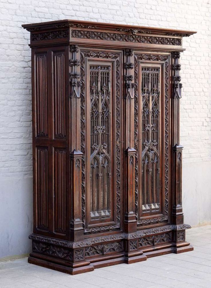 Magnificent Gothic Revival Oak Armoire in the Spirit of Violette-Le-Duc | From a unique collection of antique and modern wardrobes and armoires at http://www.1stdibs.com/furniture/storage-case-pieces/wardrobes-armoires/