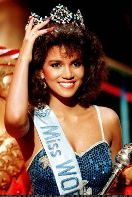 Halle Berry, Ohio, became the first African-American to enter the Miss World pageant in 1986 and placed 6th.