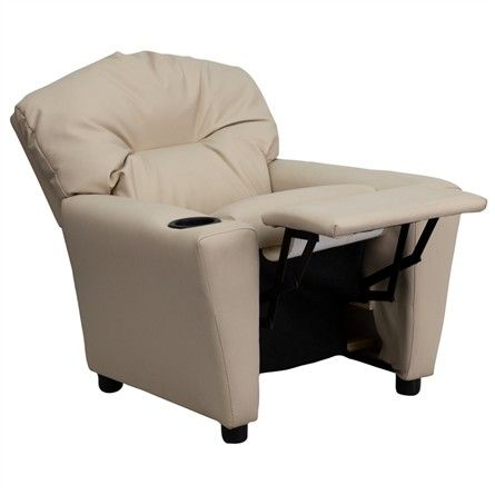 The Modern Kids' Beige Vinyl Recliner with Cup Holder will become your child's favorite perch!