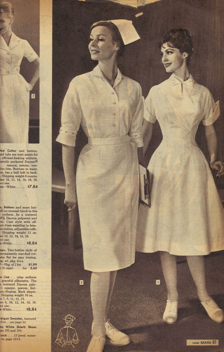 Stylish nursing uniforms from Sears catalog -- I think I actually looked like that when I was first a nurse!!
