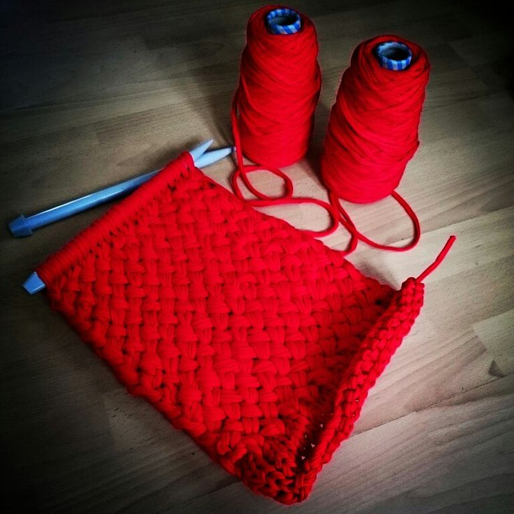 Wool and the gang hold tight clutch in  red jersey be good woven stitch
